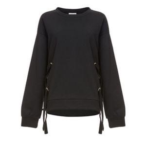 Storee DailyLook Black Side Tie Sweatshirt Medi…